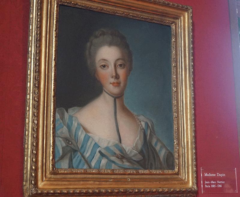 Retrato de Madame Dupin, intelectual que marcou a histόria de Chenonceau.