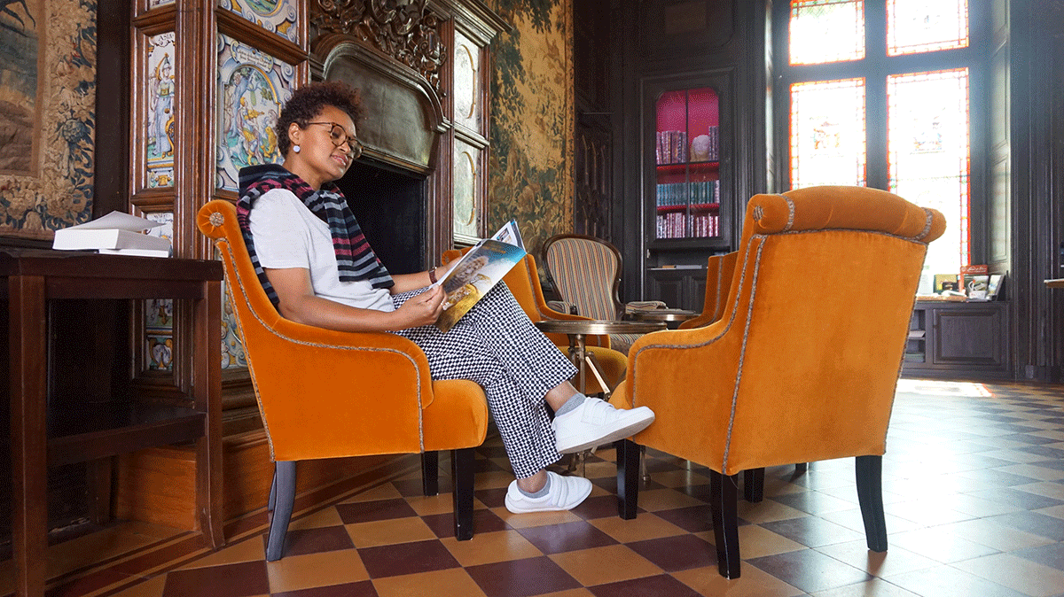 Descansando no Château de Pray