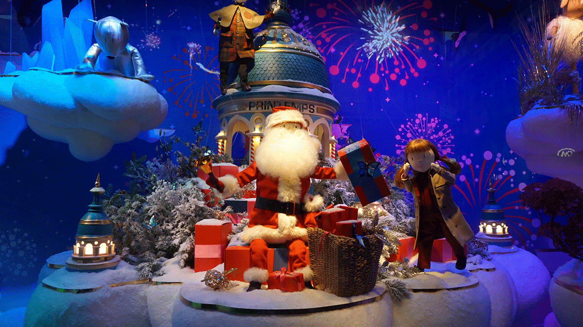 Papai Noel nas vitrines de Natal em Paris