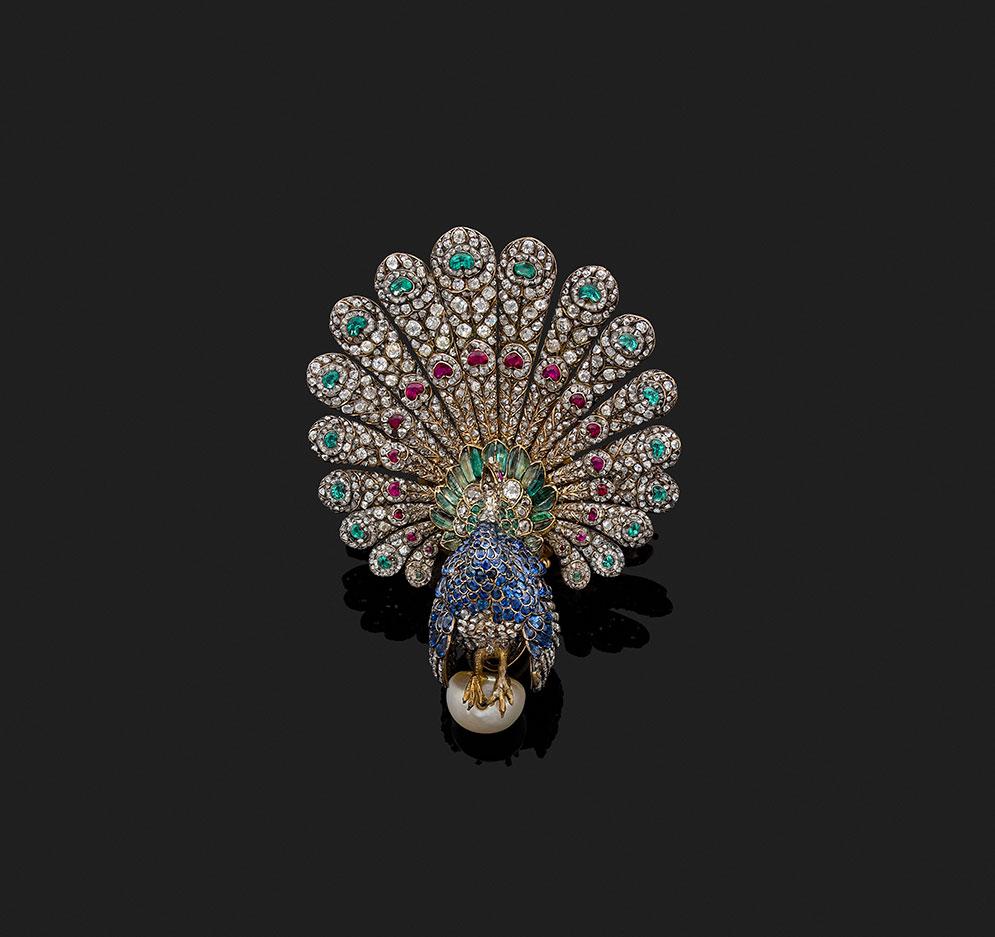 broche pavão alta joalheria