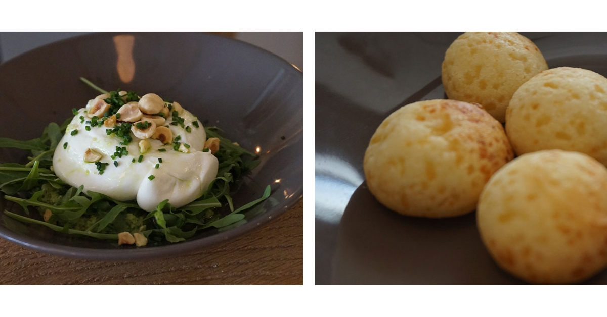 burrata e pão de queijo no Itacoa